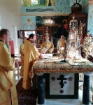 Настоятель петербургского подворья Коневской обители сослужил за Литургией в Андреевском храме г. Епископио _1